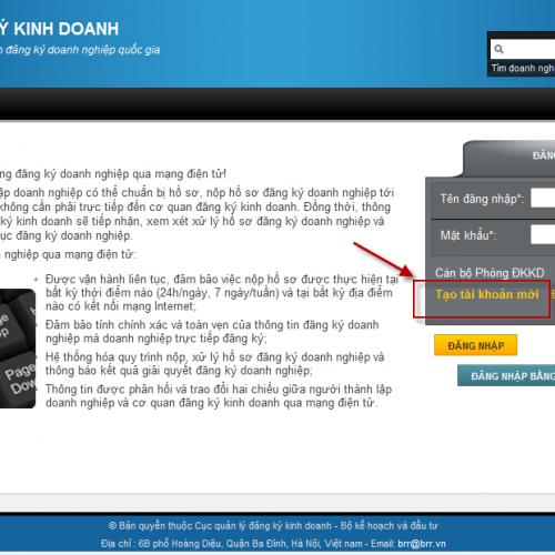 Hướng dẫn tạo tài khoản đăng ký kinh doanh qua mạng