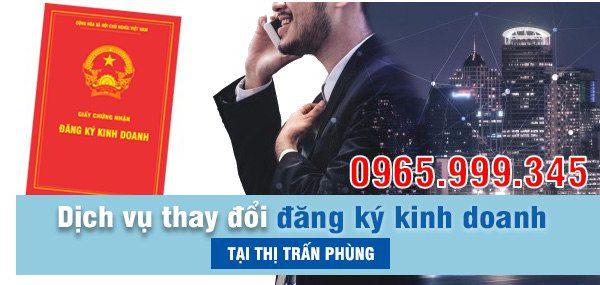 Thay đổi đăng ký kinh doanh tại Thị Trấn Phùng