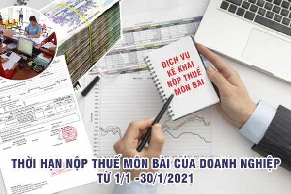 Thời hạn nộp thuế môn bài của doanh nghiệp
